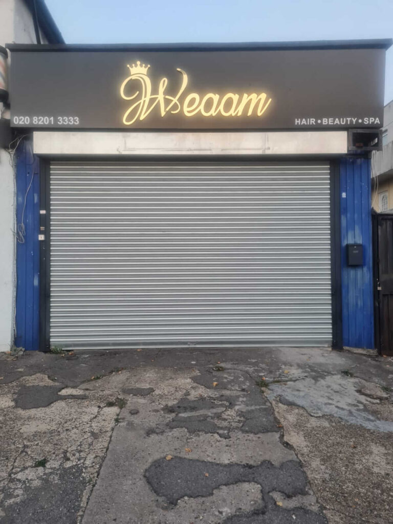 shop shutter and boards